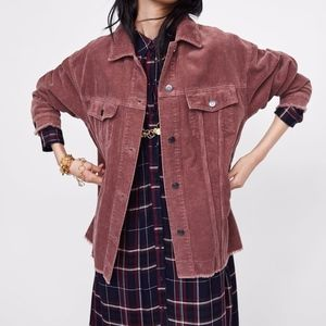 Zara Corduroy Jacket Dark Red Size S